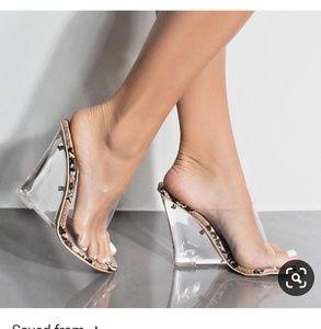 Shoes - Faux Leopard Print Lucite/PVC Mule Heels